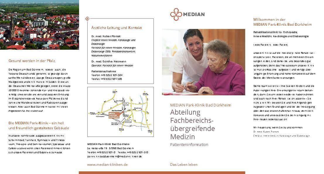 Infomaterial zur Abteilung Fachbereichsübergreifende Medizin der MEDIAN Park-Klinik Bad Dürkheim