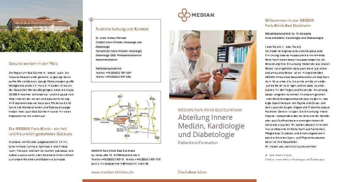 Infoflyer Abteilung Innere Medizin, Kardiologie und Diabetologie der MEDIAN Park-Klinik Bad Dürkheim