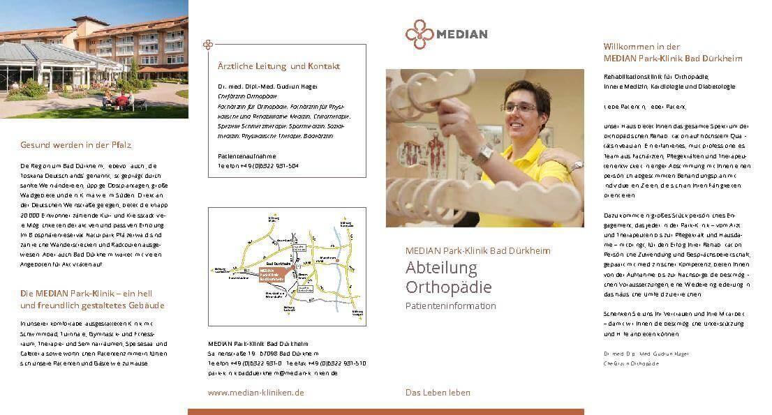 Infoflyer der Abteilung Orthopädie der MEDIAN Klinik Bad Dürkheim