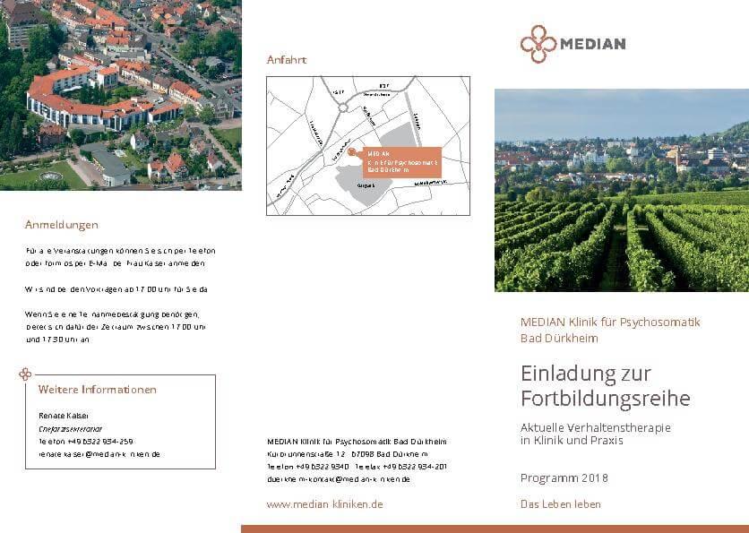 Infobroschüre Einladung zur Fortbildungsreihe der MEDIAN Klinik für Psychosomatik Bad Dürkheim