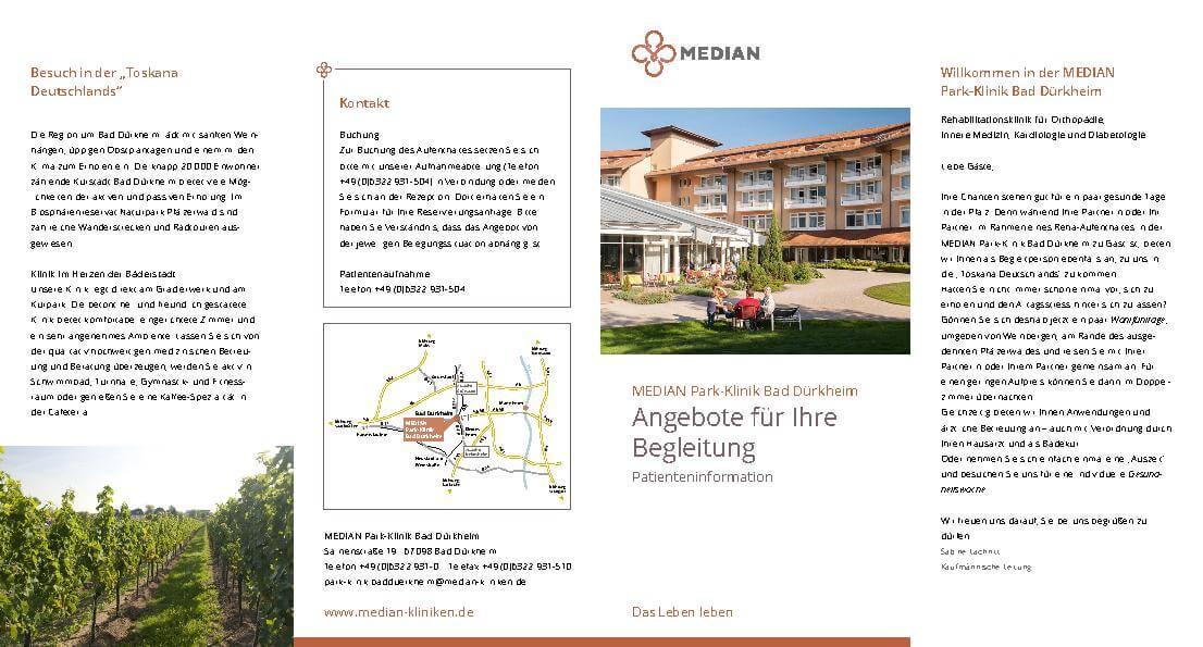 Infobroschüre Information zur Begleitperson der MEDIAN Park-Klinik Bad Dürkheim