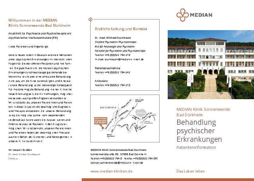 Infobroschüre Behandlung psychischer Erkrankungen der MEDIAN Klinik Sonnenwende Bad Dürkheim