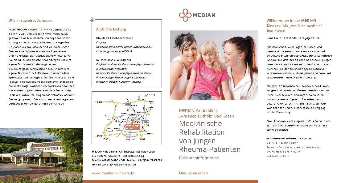 Infobroschüre Medizinische Rehabilitation von jungen Rheuma-Patienten der MEDIAN Kinderklinik Am Nicolausholz Bad Kösen