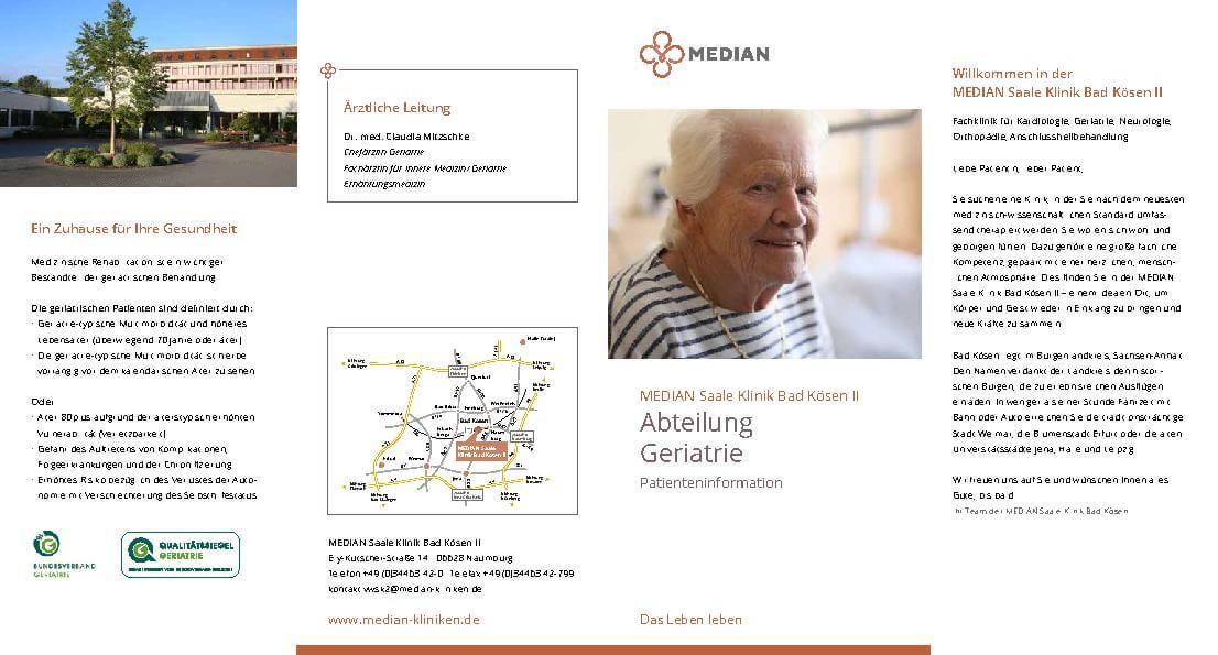 Infobroschüre zur Abteilung Geriatrie der MEDIAN Saale Klinik Bad Kösen Klinik II