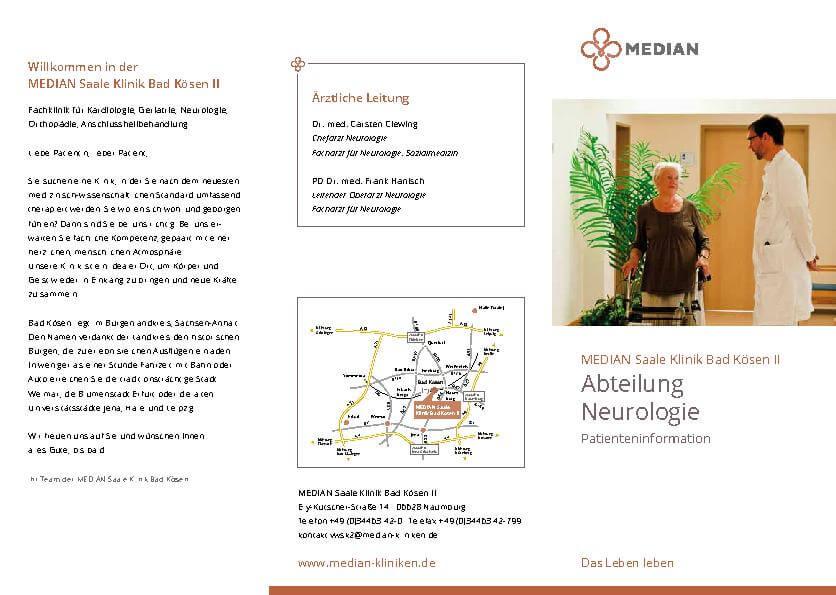 Infobroschüre zur Abteilung Neurologie der MEDIAN Saale Klinik Bad Kösen Klinik II