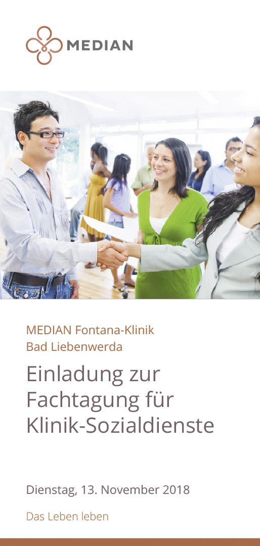 Infomaterial Einladung zur Fachtagung für Klinik-Sozialdienste der MEDIAN Fontana-Klinik Bad Liebenwerda