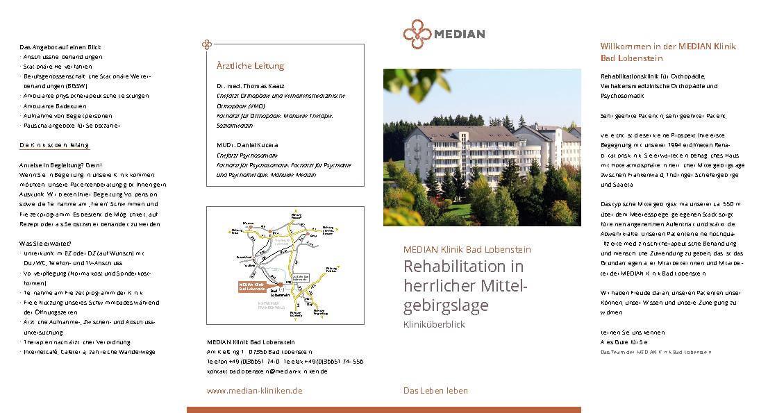 Infobroschüre Kliniküberblick der MEDIAN Klinik Bad Lobenstein