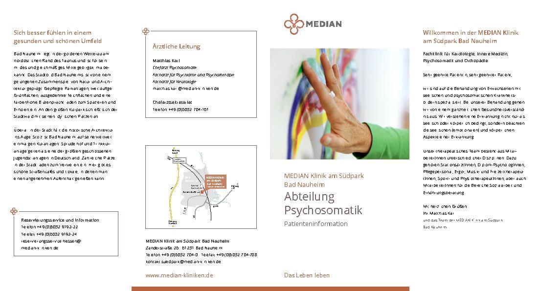 Infoflyer Abteilung Psychosomatik der MEDIAN Klinik am Südpark Bad Nauheim