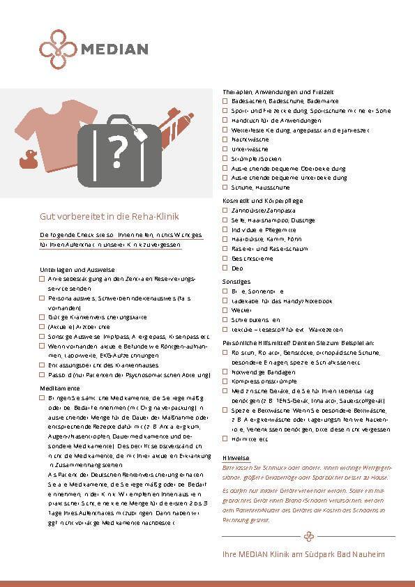 Packliste für den Aufenthalt in der MEDIAN Klinik am Südpark Bad Nauheim