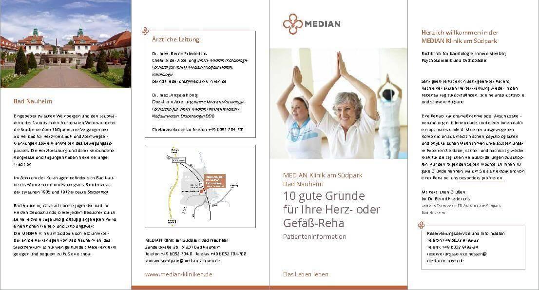 Infobroschüre der Abteilung Kardiologie der MEDIAN Klinik am Südpark Bad Nauheim