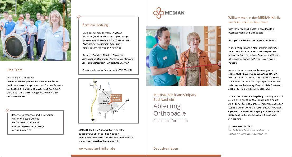 Infobroschüre der Abteilung Orthopädie der MEDIAN Klinik am Südpark Bad Nauheim