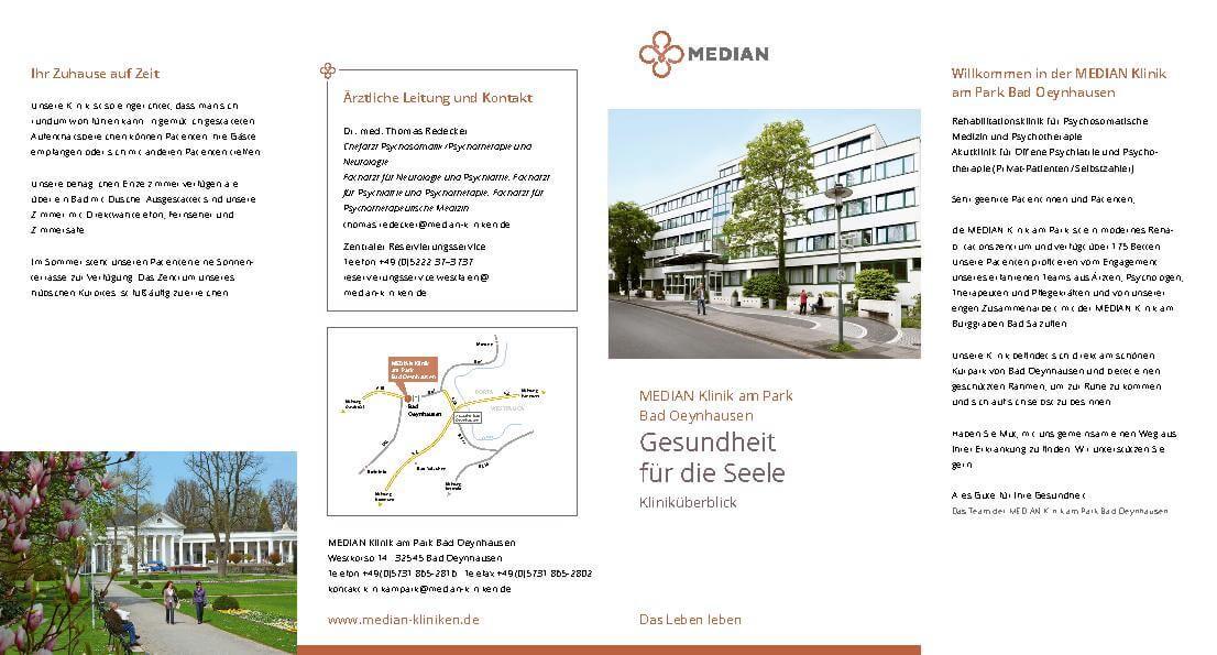 Flyer zur Gesundheit für die Seele der MEDIAN Klinik am Park Bad Oeynhausen