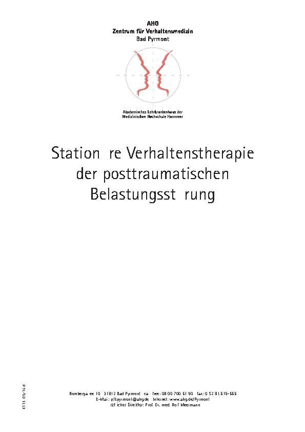 Infoflyer Stationäre Verhaltenstherapie des MEDIAN Zentrum für Verhaltensmedizin Bad Pyrmont - Klinik für Psychosomatik