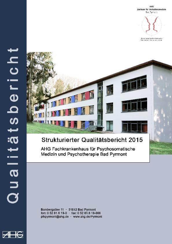 Qualitätsbericht 2015 des MEDIAN Zentrum für Verhaltensmedizin Bad Pyrmont Fachkrankenhaus