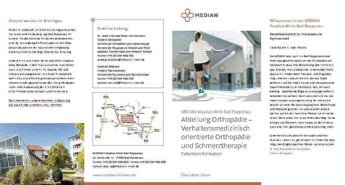 Infomaterial zur Orthopädie in der MEDIAN Vesalius-Klinik Bad Rappenau