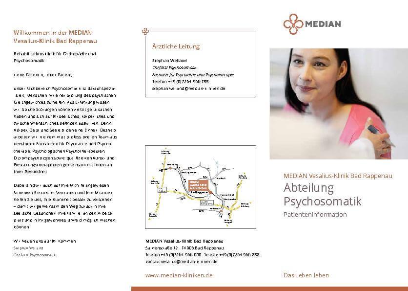 Infobroschüre Abteilung Psychosomatik der MEDIAN Vesalius-Klinik Bad Rappenau