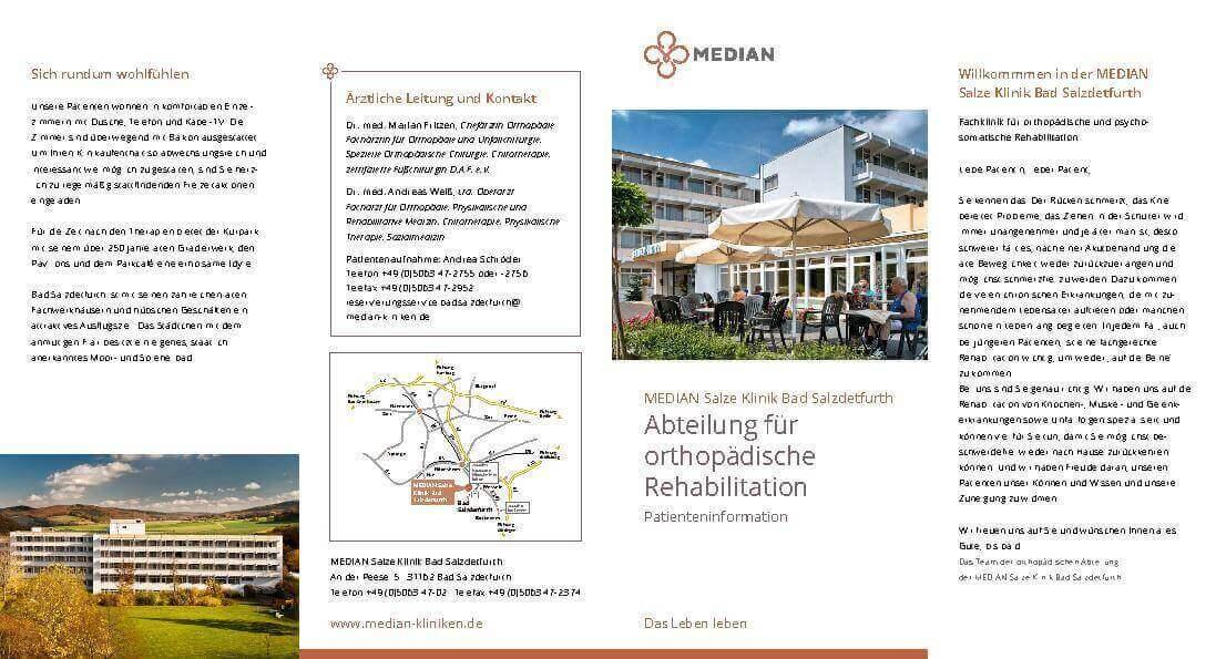 Infobroschüre Abteilung Orthopädie der MEDIAN Salze Klinik Bad Salzdetfurth