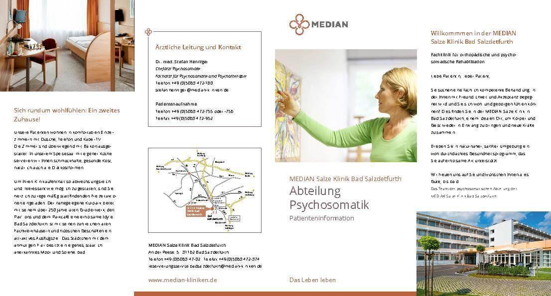 Infomaterial zur Abteilung Psychosomatik der MEDIAN Salze Klinik Bad Salzdetfurth