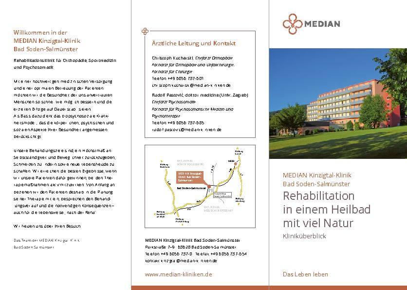 Infoflyer Kliniküberblick der MEDIAN Klinzigtal Klinik Bad Soden-Salmünster