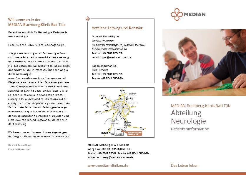 Infobroschüre Abteilung Neurologie der MEDIAN Buchberg-Klinik Bad Tölz