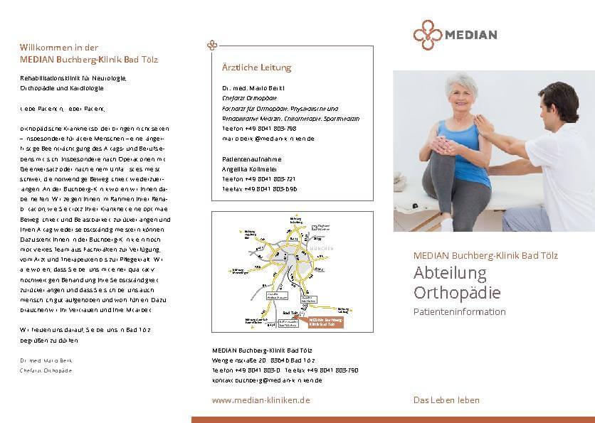 Infobroschüre zur Abteilung Orthopädie der MEDIAN Buchberg-Klinik Bad Tölz