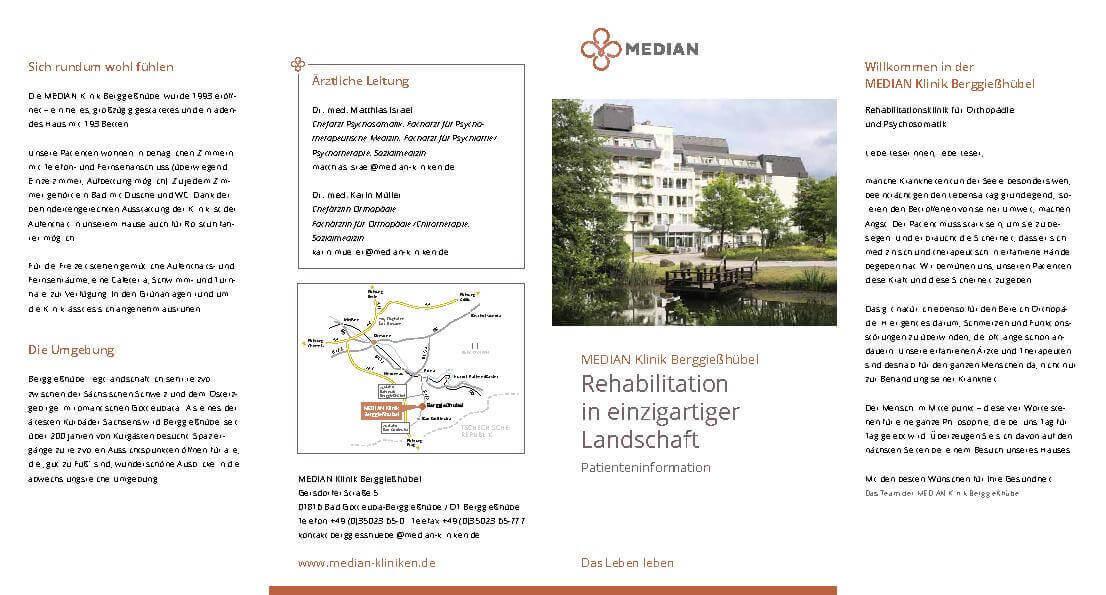 Infobroschüre Patienteninformation der MEDIAN Klinik Berggießhübel