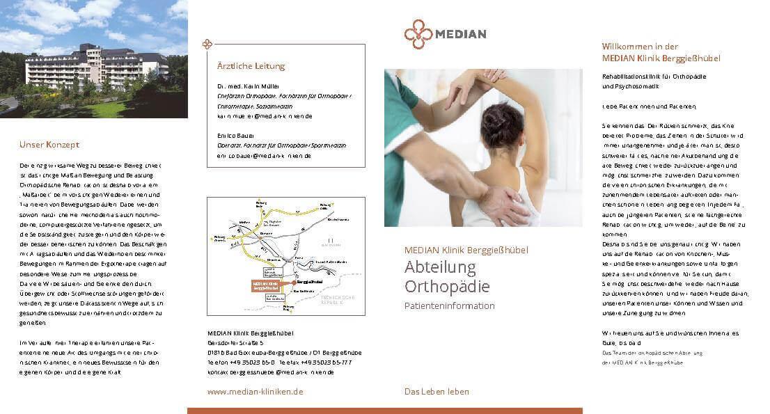 Patienteninformation Orthopädie der MEDIAN Klinik Berggießhübel