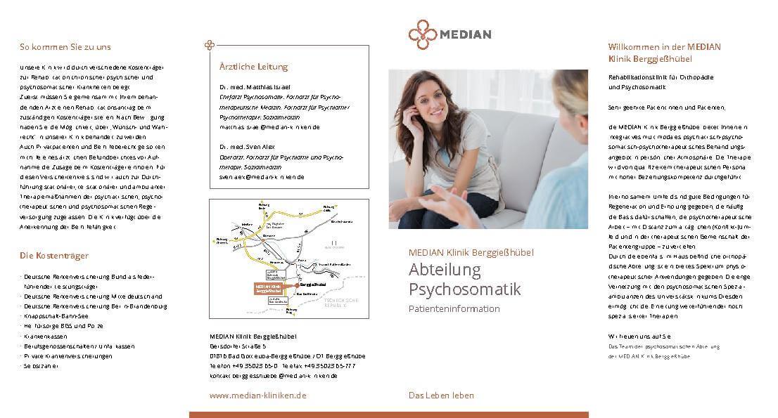 Psychosomatik Patienteninformation der MEDIAN Klinik Berggießhübel