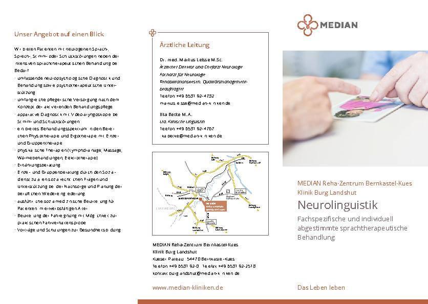 Infobroschüre für Neurolinguistik im MEDIAN Reha-Zentrum Bernkastel Kues Klinik Burg Landshut