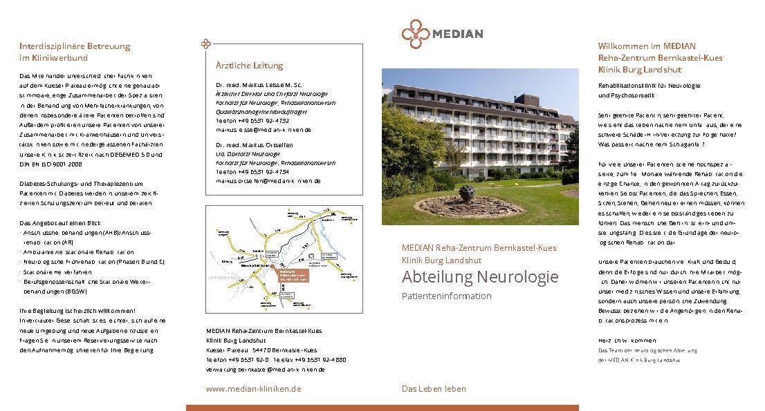 Infoflyer Neurologie des MEDIAN Reha-Zentrum Bernkastel-Küs Klinik Burg Landshut