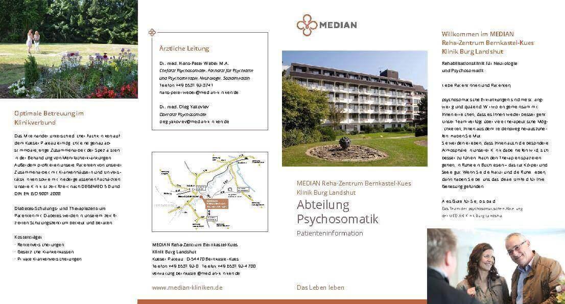 Infoflyer Abteilung Psychosomatik des MEDIAN Reha-Zentrums Bernkastel-Kues Klinik Burg Landshut