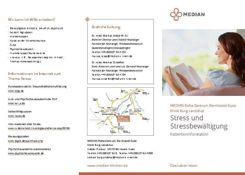 Flyer Stress und Stressbewältigung der MEDIAN Reha Zentrum Bernkastel Kues Klinik Burg Landshut