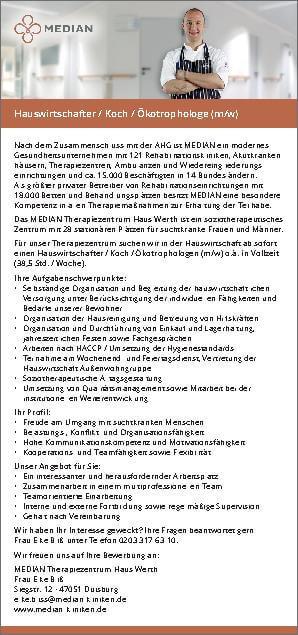 Stellenangebot Hauswirtschafter/Koch/Ökothrophologe des MEDIAN Therapiezentrum Haus Werth