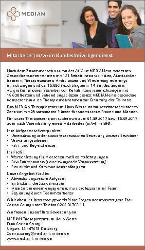 Stellenangebot Mitarbeiter im Bundesfreiwilligendienst des MEDIAN Therapiezentrum Haus Werth
