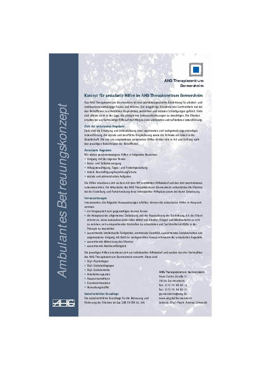 Ambulantes Betreuungskonzept Infoblatt des MEDIAN Therapiezentrum Germersheim