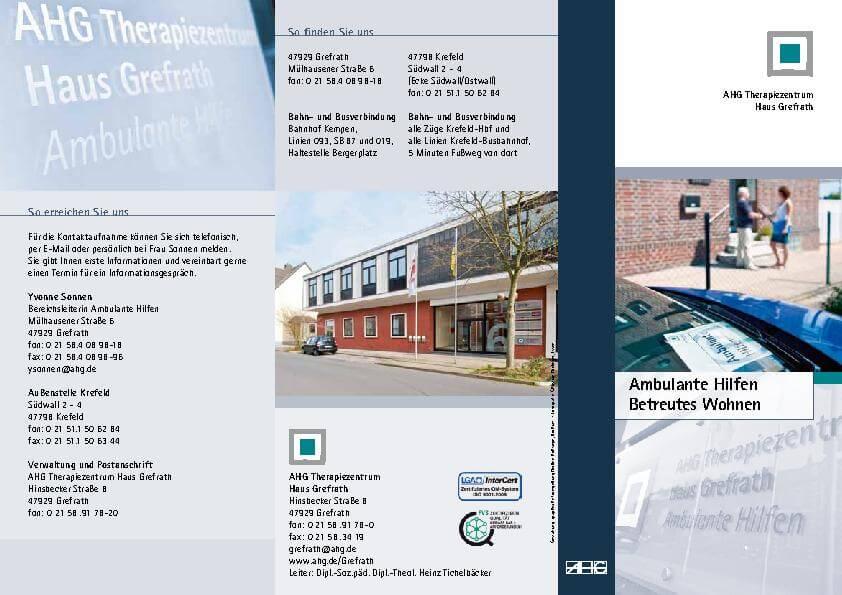 Infobroschüre Ambulante Hilfen Betreutes Wohnen des MEDIAN Therapiezentrum Haus Grefrath