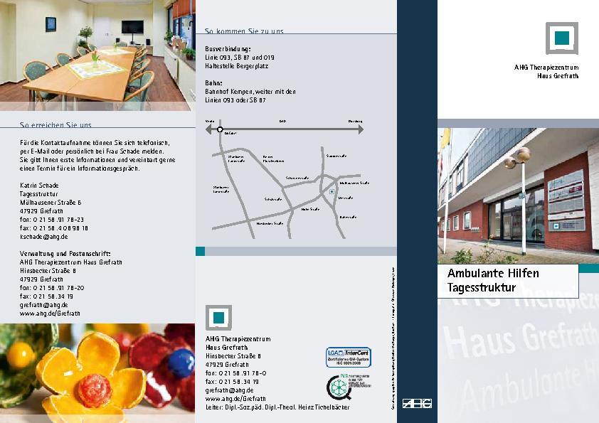 Infoflyer Ambulante Hilfen Tagesstruktur des MEDIAN Therapiezentrum Haus Grefrath