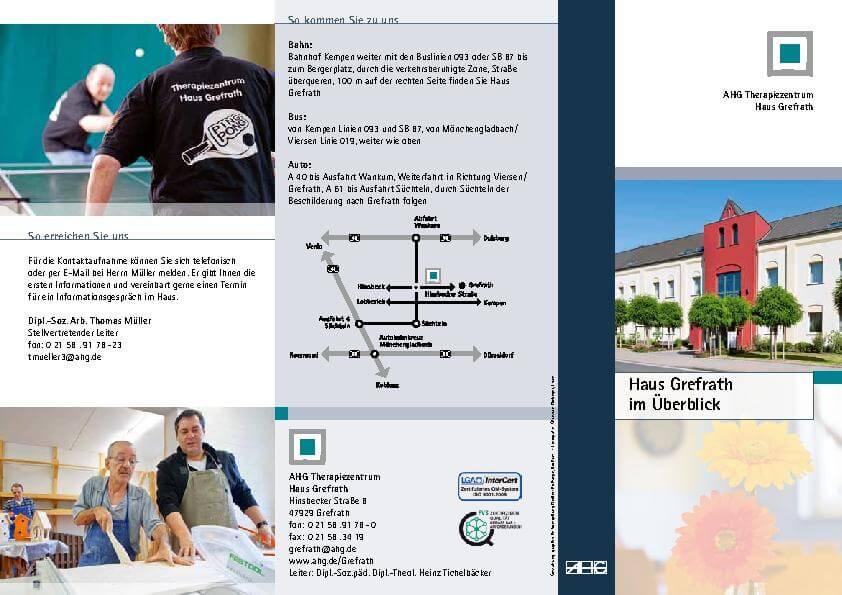 Informationsbroschüre Überblick über das MEDIAN Haus Grefrath