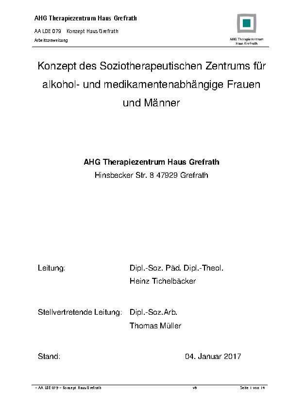 Infomaterialien des MEDIAN Therapiezentrums Haus Grefrath: Gesamtkonzept