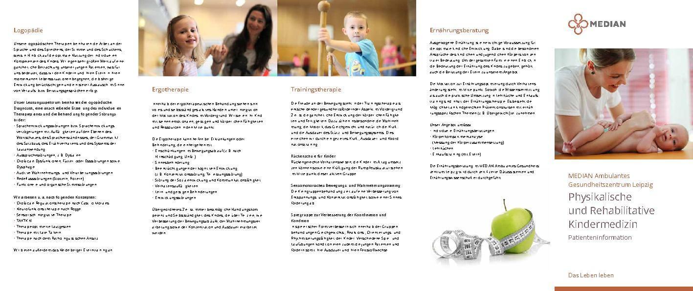 Infobroschüre Kindertherapie des MEDIAN Ambulantes Gesundheitszentrum Leipzig