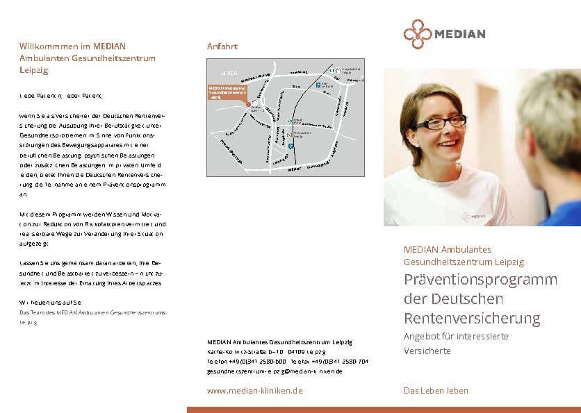 Infoflyer Präventionsprogramm der DRV im MEDIAN Ambulantes Gesundheitszentrum Leipzig