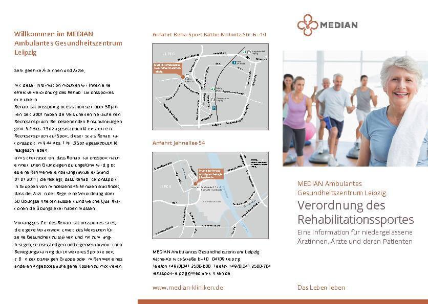 Informationsbroschüre Verordnung des Rehabilitationssportes des MEDIAN Ambulanten Gesundheitszentrum Leipzig