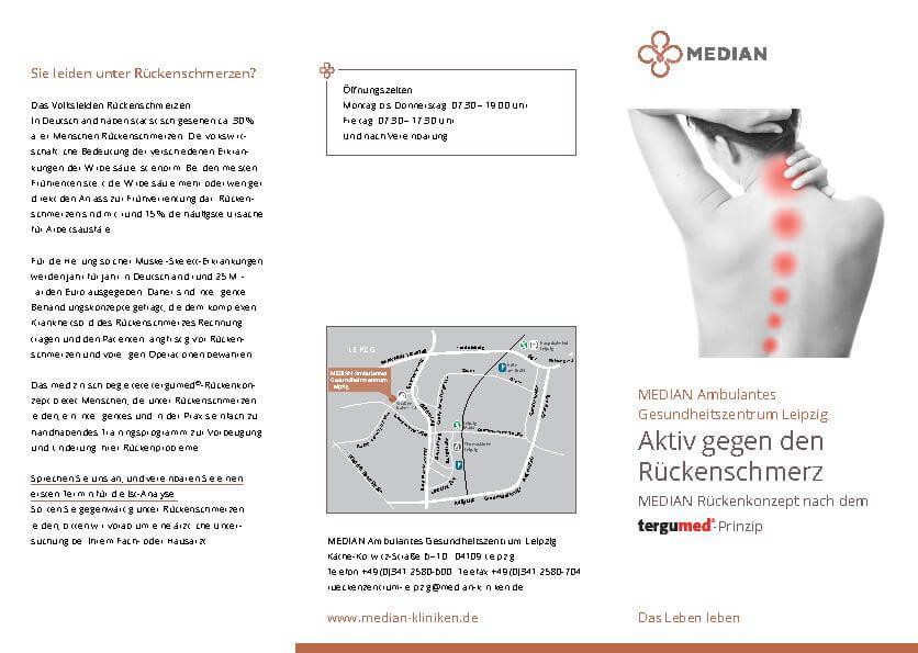 Infobroschüre Aktiv gegen Rückenschmerzen des MEDIAN Ambulantes Gesundheitszentrum Leipzig