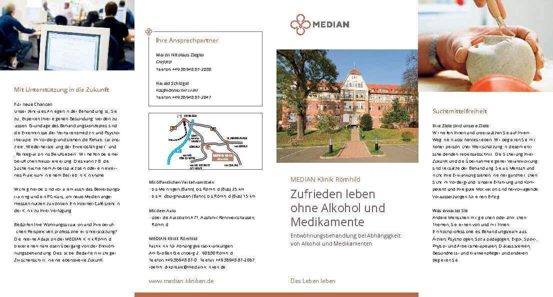 Infobroschüre Zufrieden Leben ohne Alkohol und Medikamente der MEDIAN Klinik Römhild