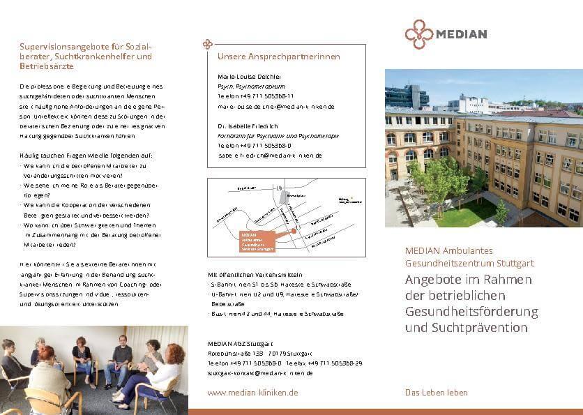 Flyer zur Gesundheitsförderung und Suchtprävention der MEDIAN AGZ Stuttgart
