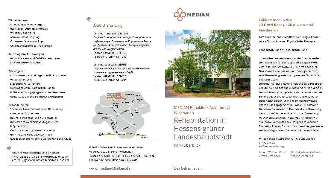 Flyer Kliniküberblick MEDIAN Rehaklinik Aukammtal Wiesbaden