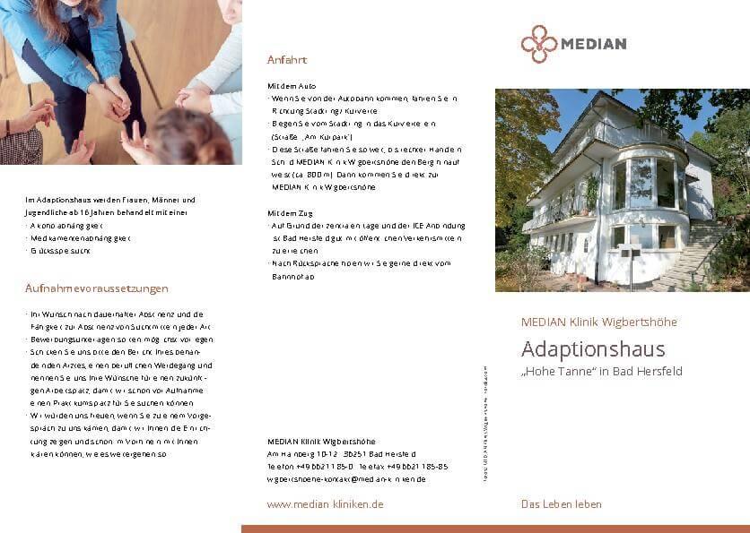 """Flyer zum Adaptionshaus """"hohe Tanne"""" der MEDIAN Klinik Wigbertshöhe"""