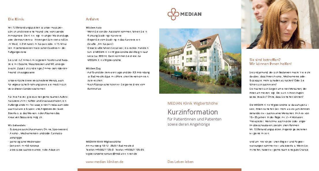 Infoflyer Kurzinformation zur MEDIAN Klinik Wigbertshöhe