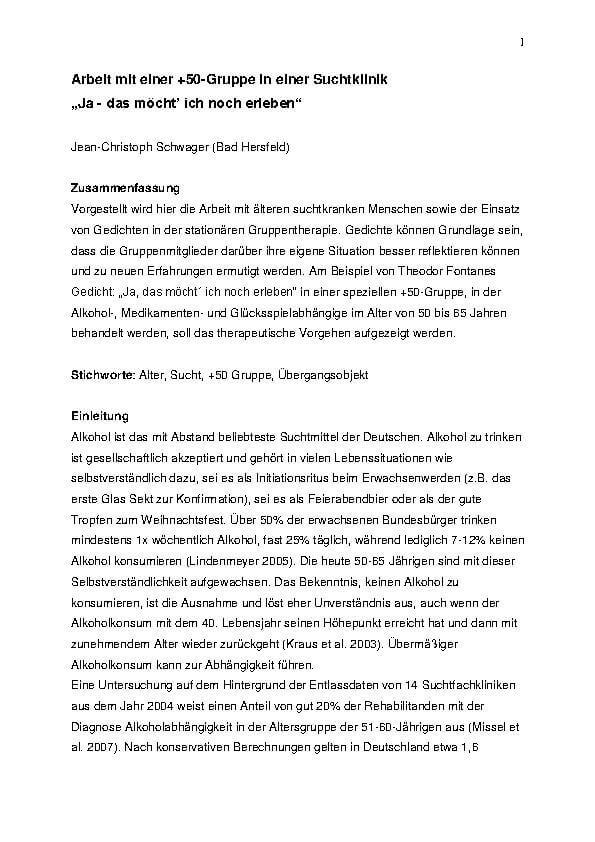 Infoartikel zum Thema 50 plus Gruppe in der Suchtklinik der MEDIAN Klinik Wigbertshöhe