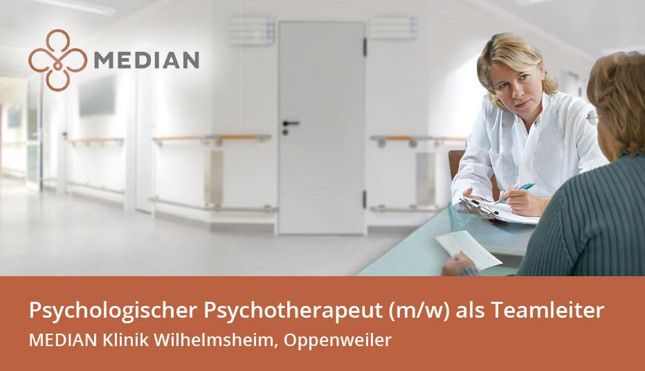 Stellenangebot Psychologischer Psychotherapeut in der MEDIAN Klinik Wilhelmsheim